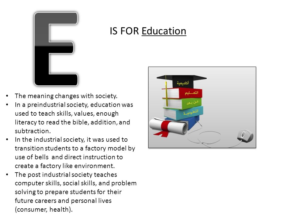 E IS FOR Education The meaning changes with society.