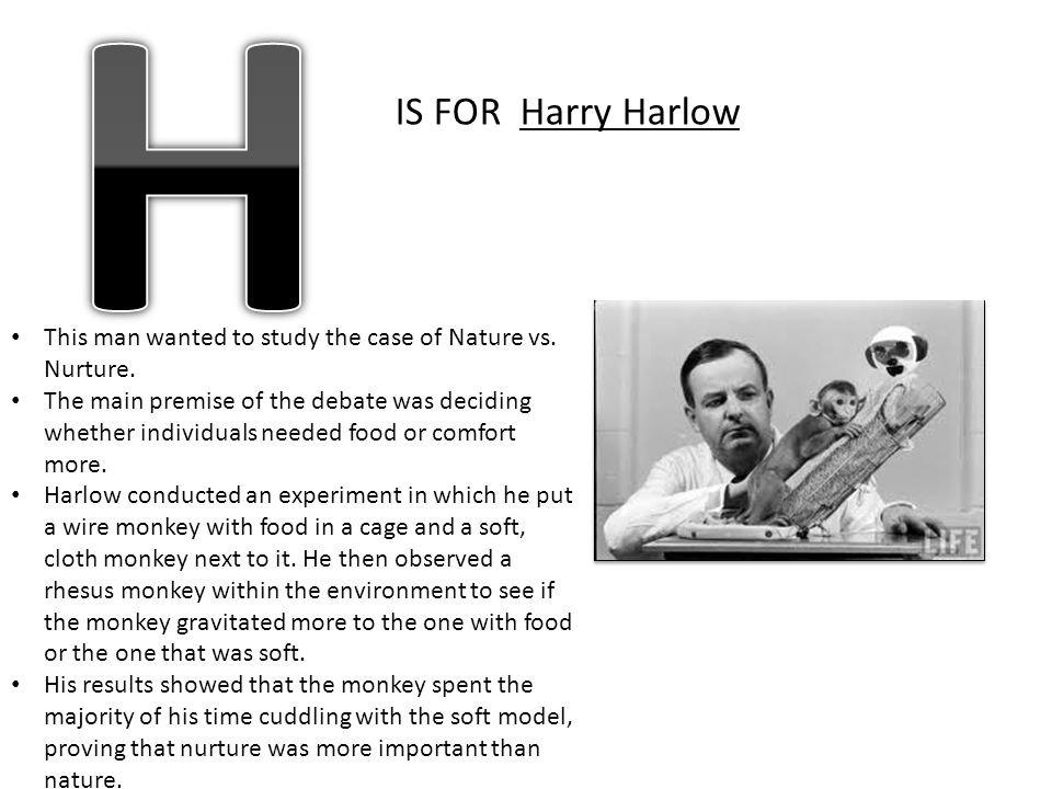H IS FOR Harry Harlow. This man wanted to study the case of Nature vs. Nurture.