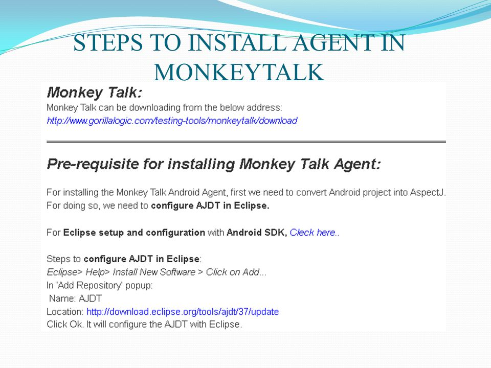 STEPS TO INSTALL AGENT IN MONKEYTALK