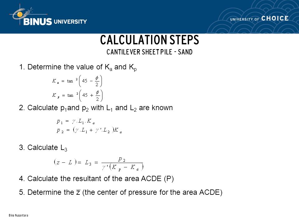 CALCULATION STEPS CANTILEVER SHEET PILE - SAND