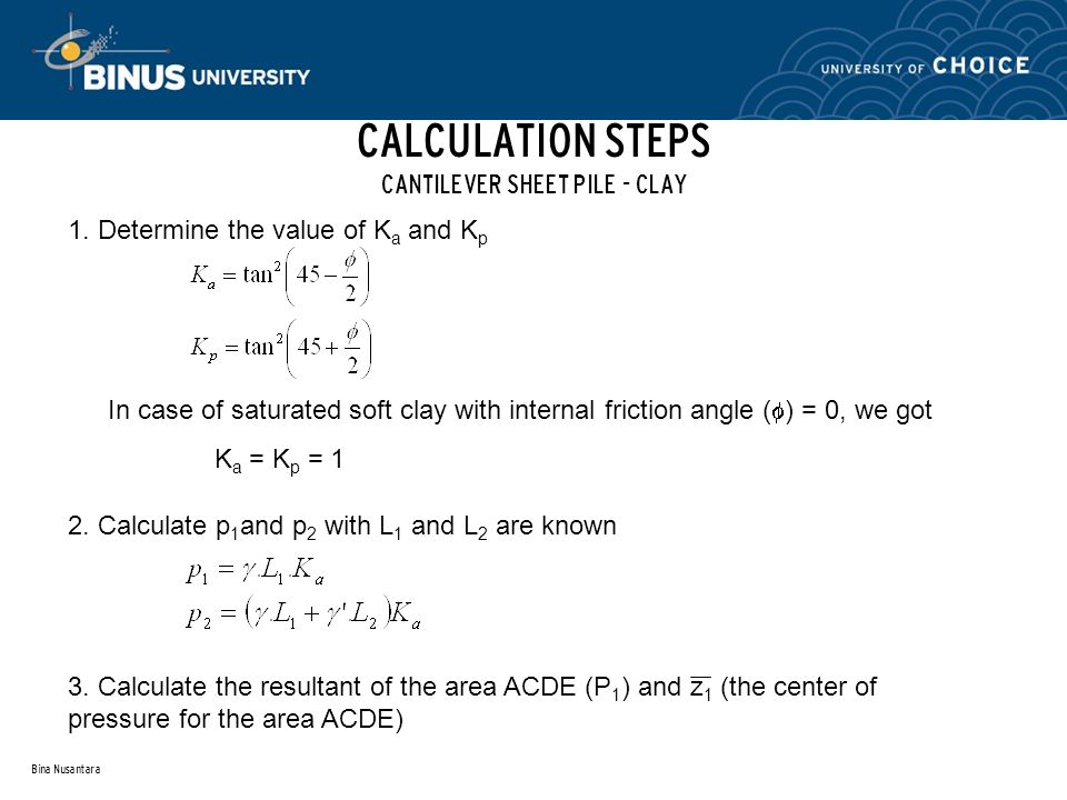 CALCULATION STEPS CANTILEVER SHEET PILE - CLAY