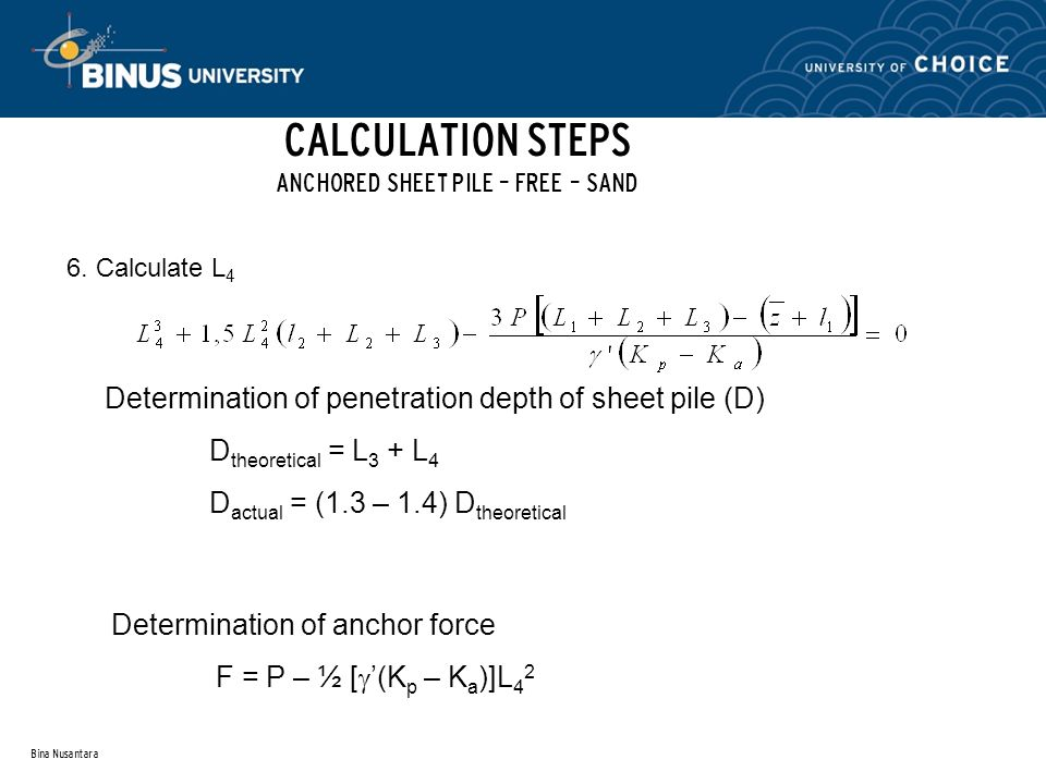 CALCULATION STEPS ANCHORED SHEET PILE – FREE – SAND