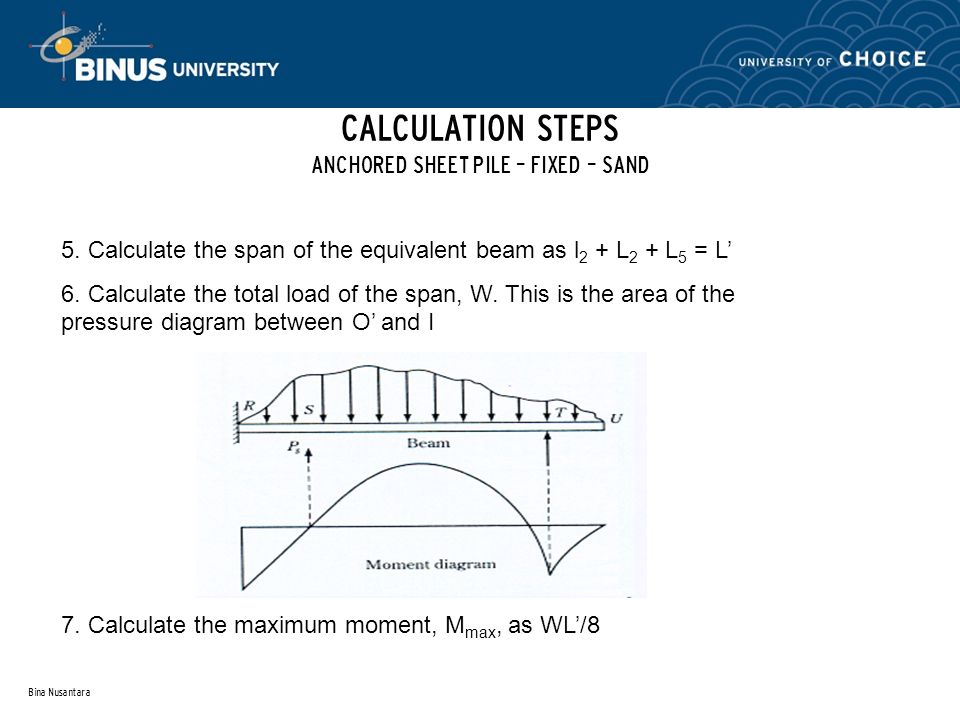 CALCULATION STEPS ANCHORED SHEET PILE – FIXED – SAND