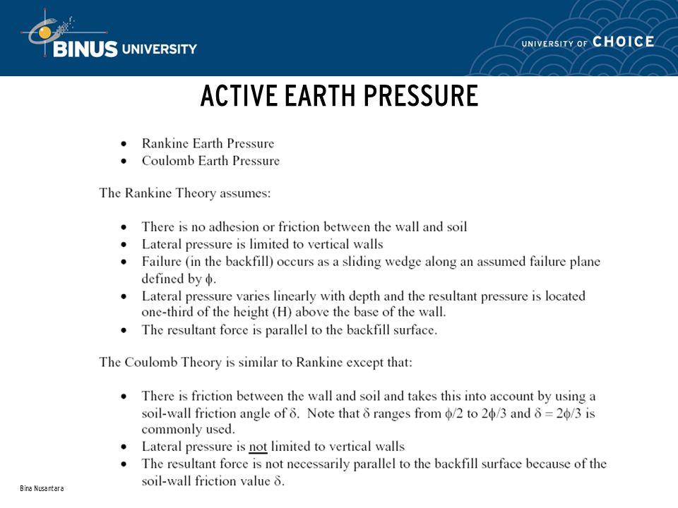 ACTIVE EARTH PRESSURE Bina Nusantara