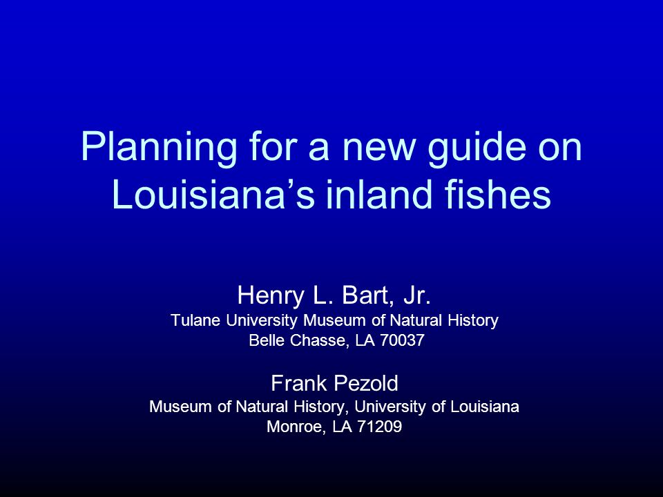 Planning for a new guide on Louisiana's inland fishes