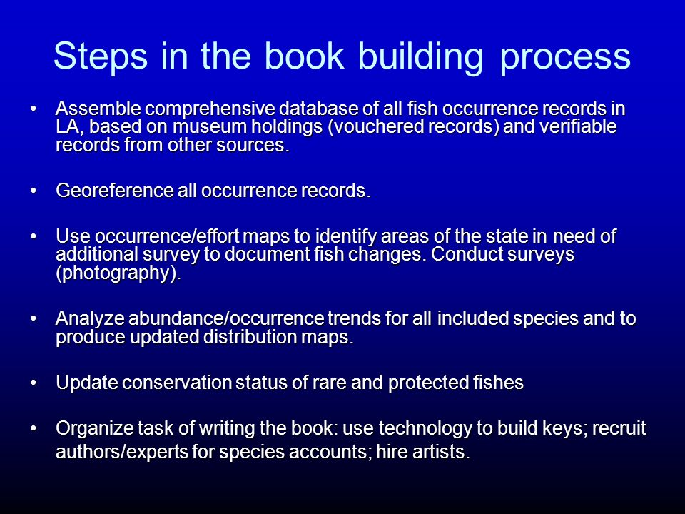 Steps in the book building process