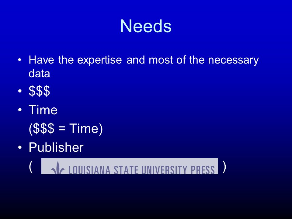 Needs $$$ Time ($$$ = Time) Publisher ( )