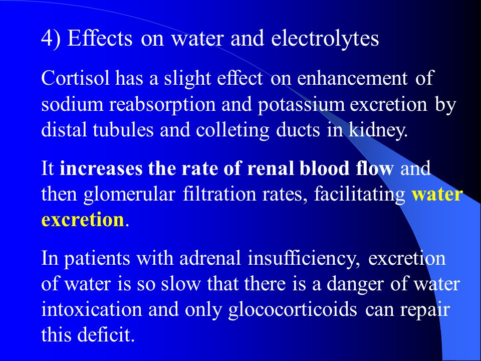 4) Effects on water and electrolytes