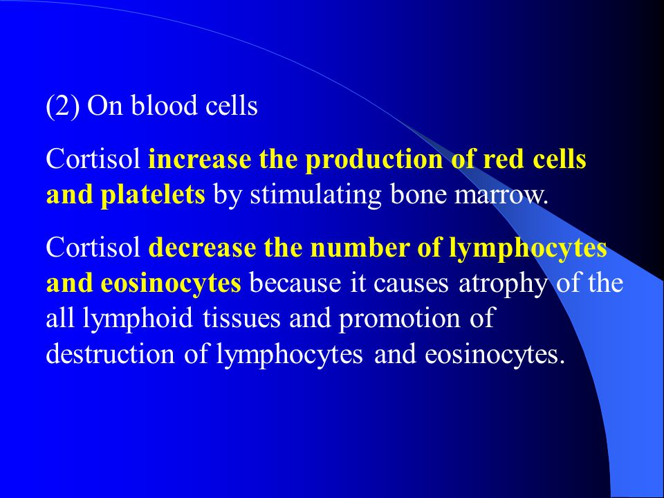 (2) On blood cells Cortisol increase the production of red cells and platelets by stimulating bone marrow.