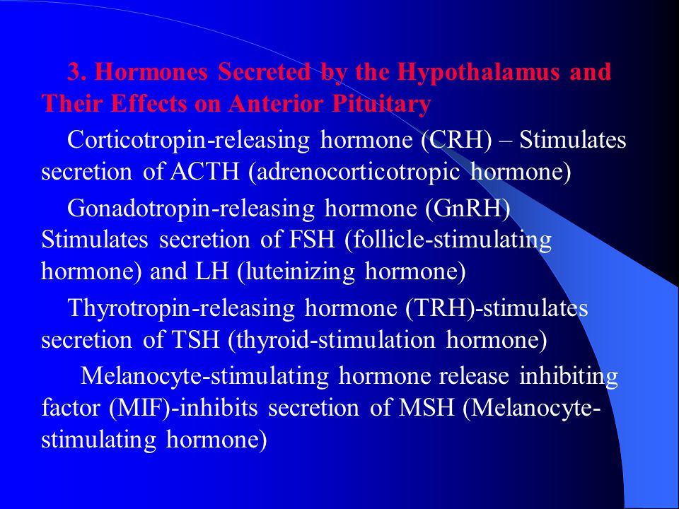 3. Hormones Secreted by the Hypothalamus and Their Effects on Anterior Pituitary