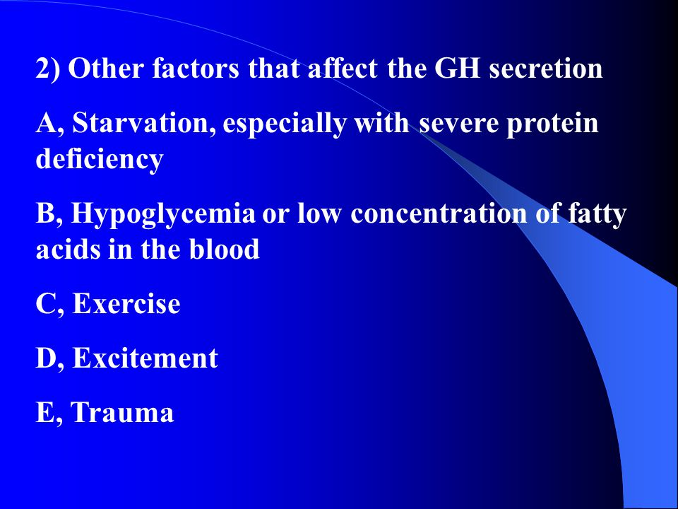 2) Other factors that affect the GH secretion