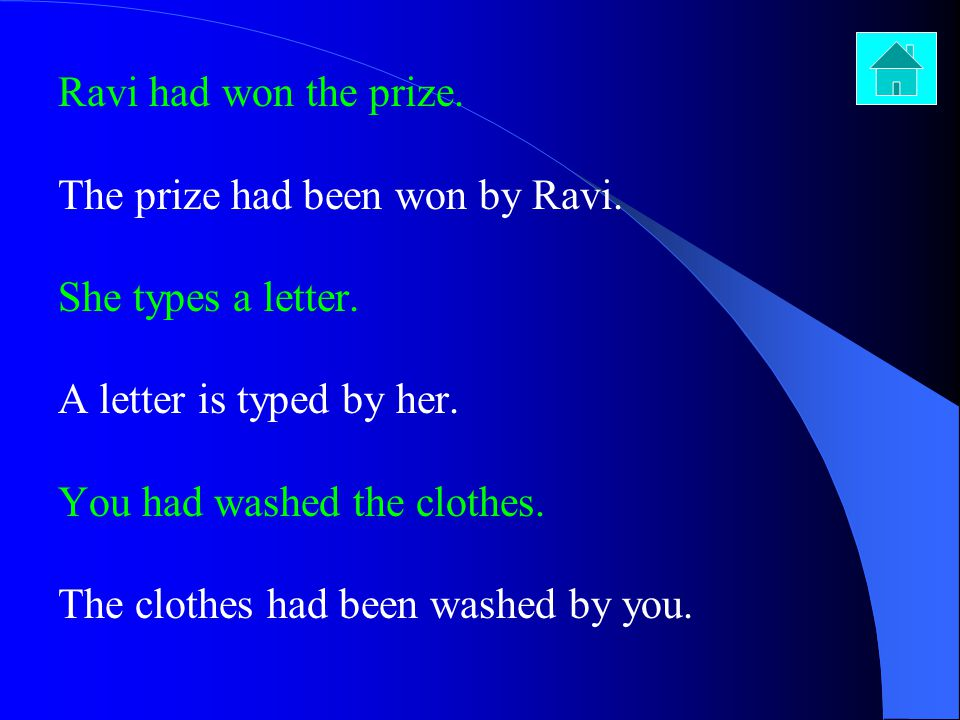 Ravi had won the prize. The prize had been won by Ravi. She types a letter. A letter is typed by her.