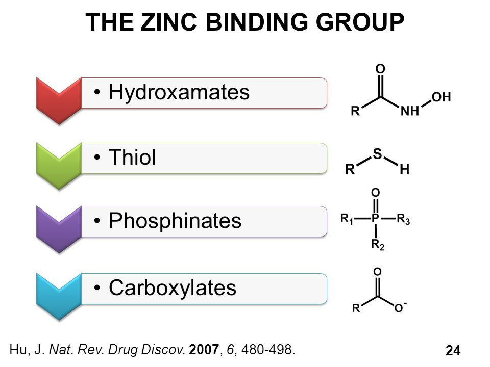 THE ZINC BINDING GROUP Hydroxamates Thiol Phosphinates Carboxylates