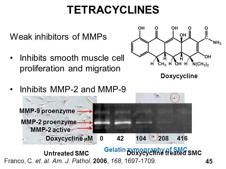 TETRACYCLINES Weak inhibitors of MMPs