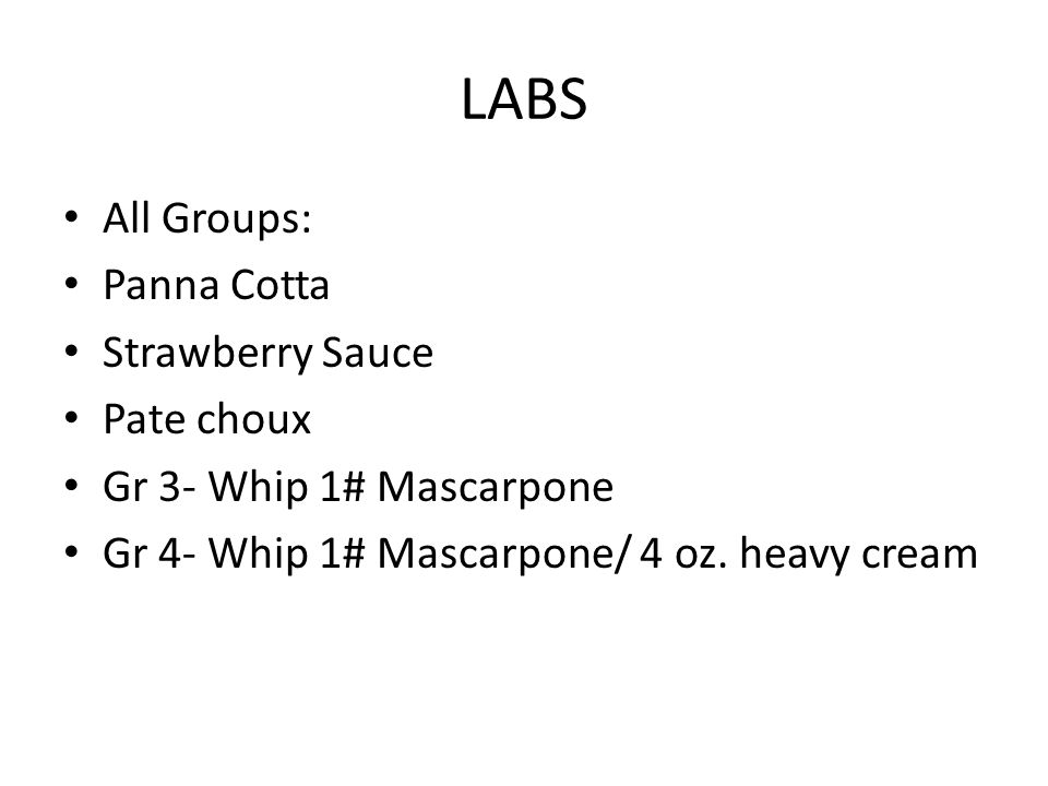 LABS All Groups: Panna Cotta Strawberry Sauce Pate choux
