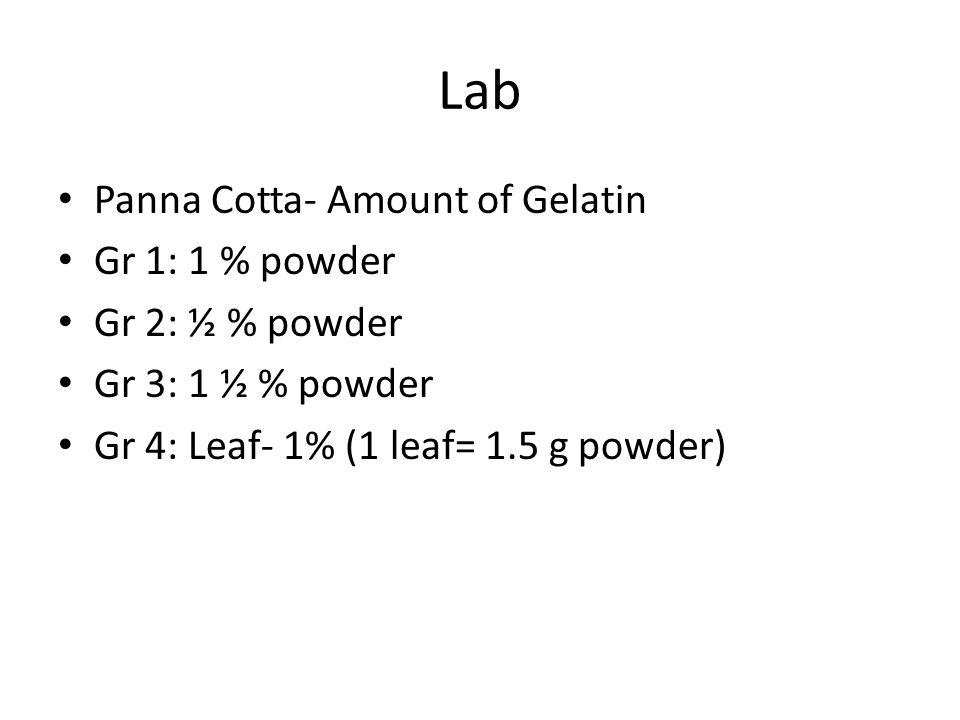Lab Panna Cotta- Amount of Gelatin Gr 1: 1 % powder Gr 2: ½ % powder