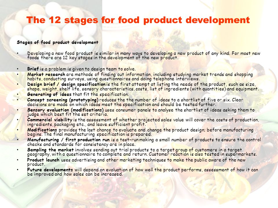 The 12 stages for food product development