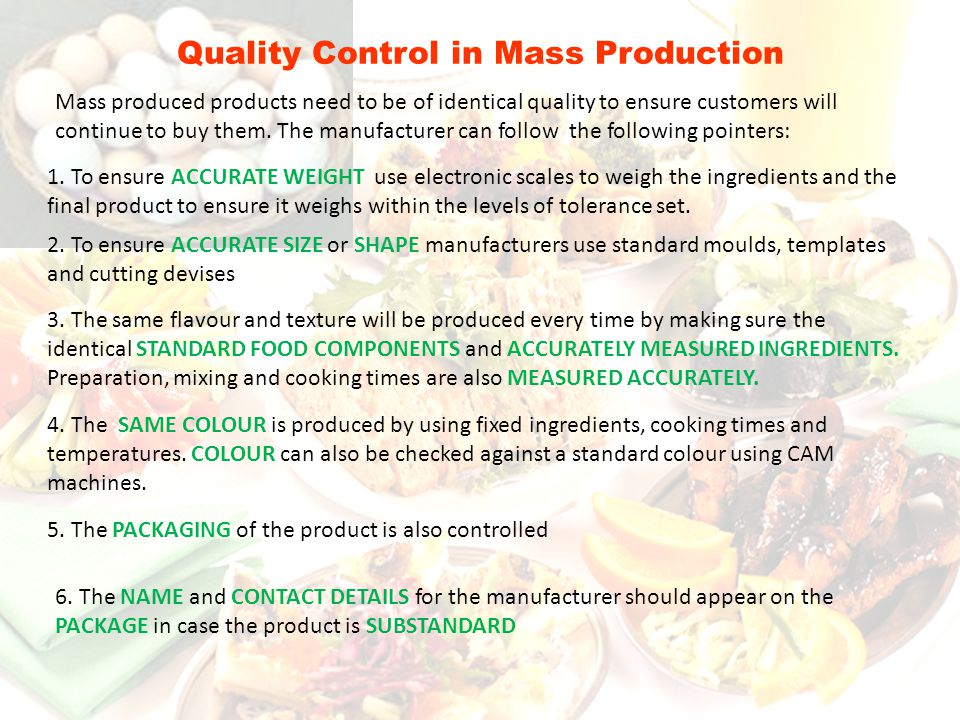 Quality Control in Mass Production