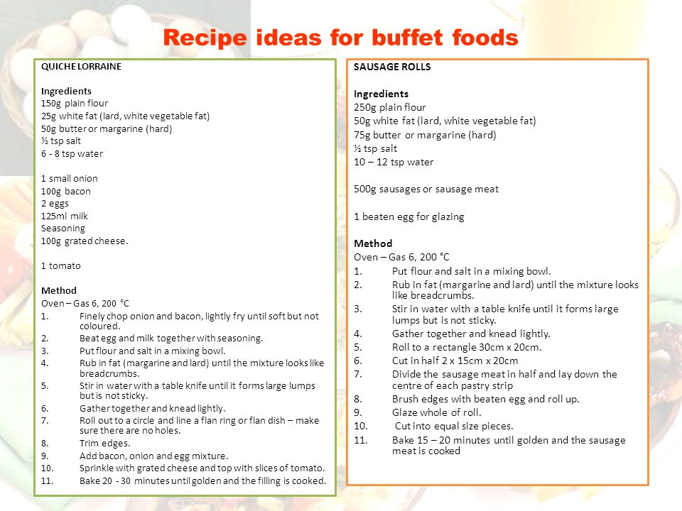 Recipe ideas for buffet foods