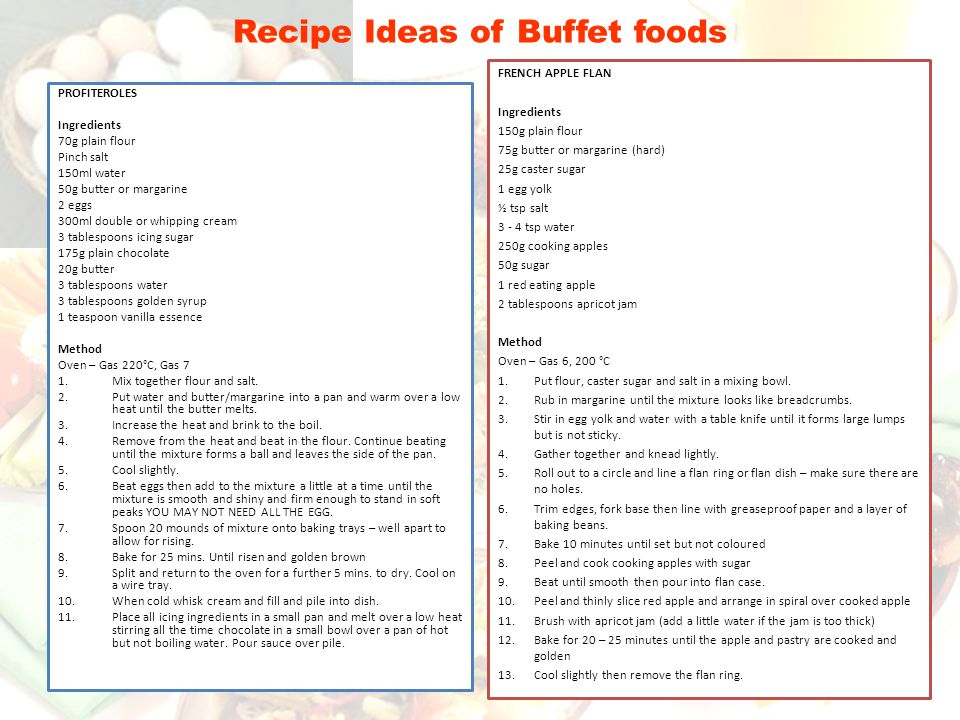Recipe Ideas of Buffet foods