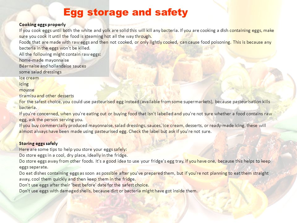 Egg storage and safety Cooking eggs properly