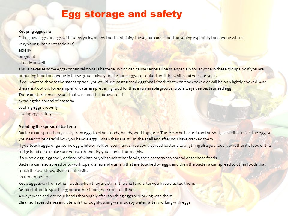 Egg storage and safety