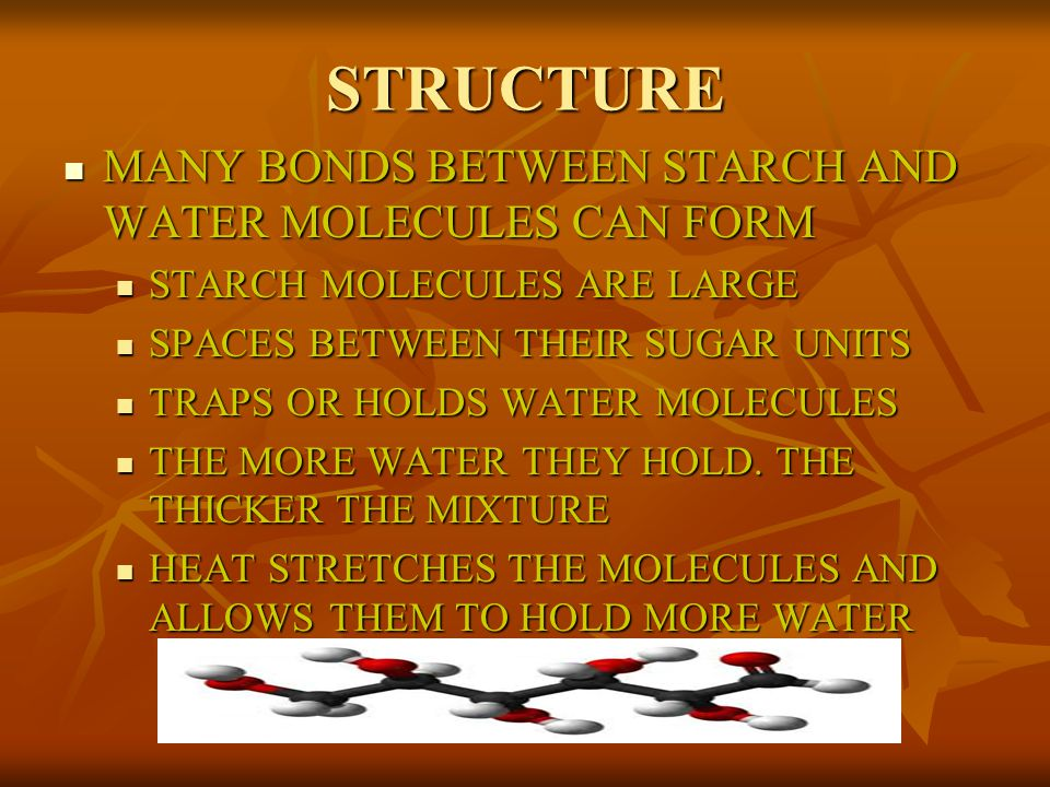 STRUCTURE MANY BONDS BETWEEN STARCH AND WATER MOLECULES CAN FORM