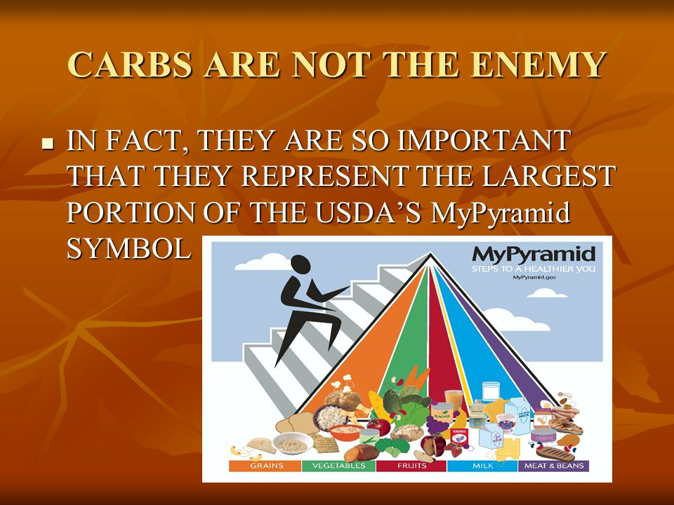 CARBS ARE NOT THE ENEMY IN FACT, THEY ARE SO IMPORTANT THAT THEY REPRESENT THE LARGEST PORTION OF THE USDA'S MyPyramid SYMBOL.