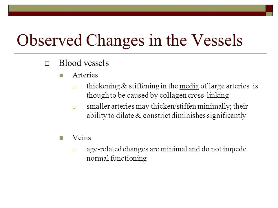Observed Changes in the Vessels