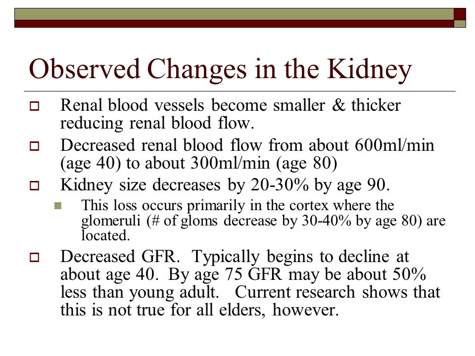 Observed Changes in the Kidney