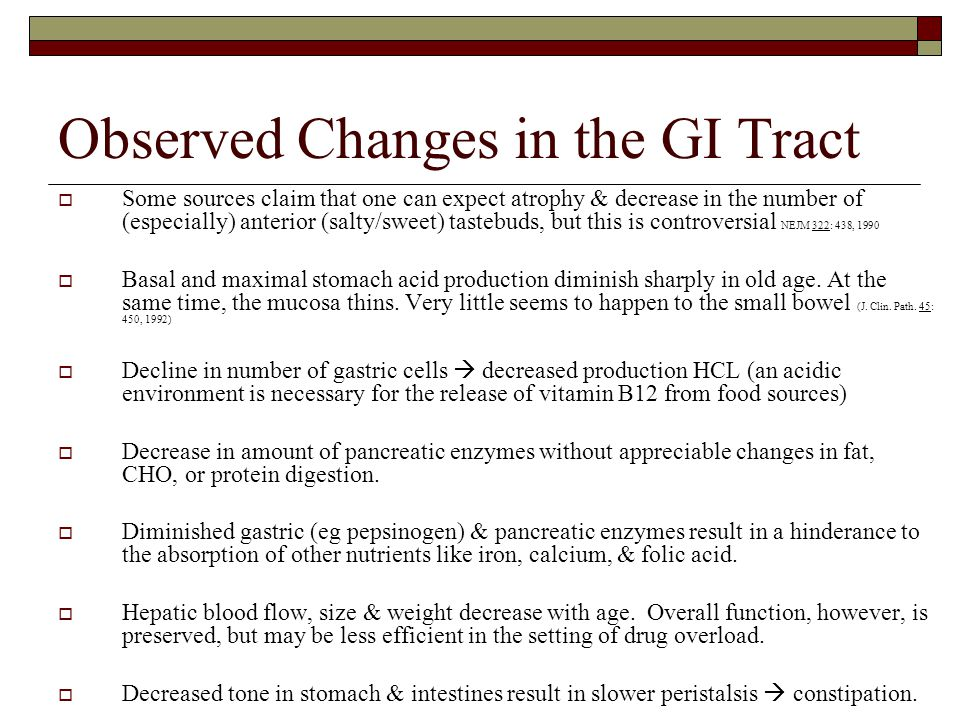 Observed Changes in the GI Tract