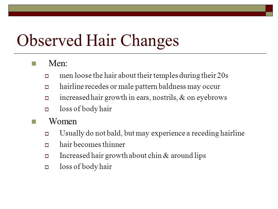 Observed Hair Changes Men: Women