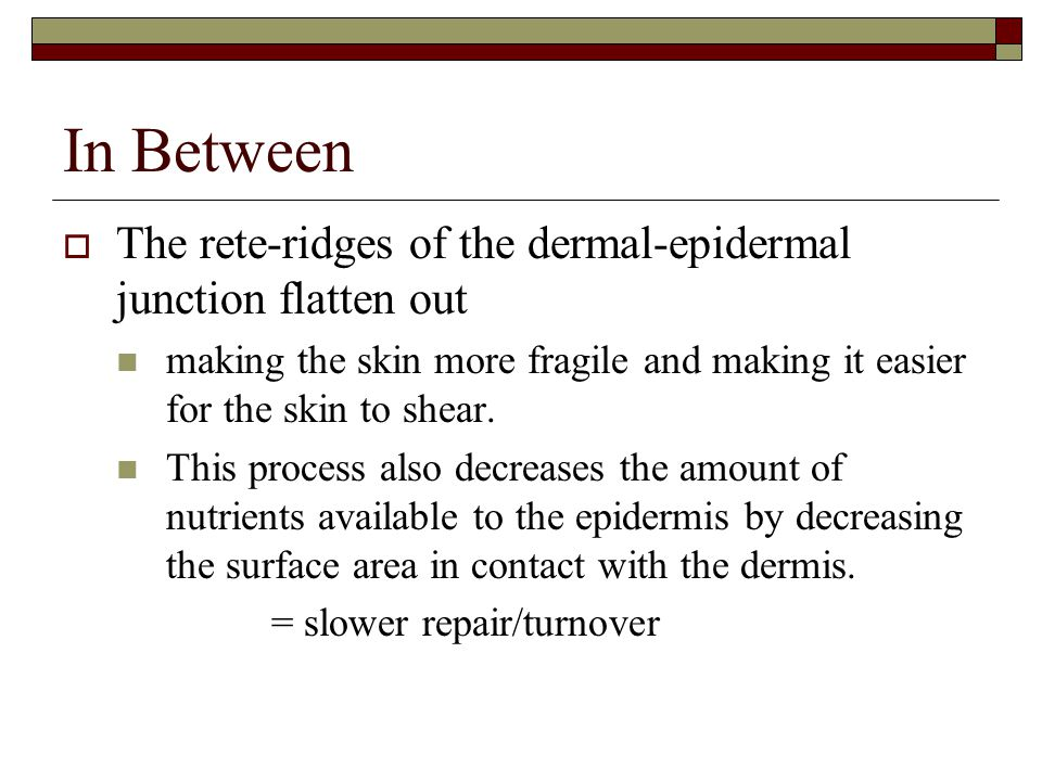 In Between The rete-ridges of the dermal-epidermal junction flatten out. making the skin more fragile and making it easier for the skin to shear.