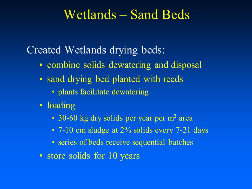 Wetlands – Sand Beds Created Wetlands drying beds: