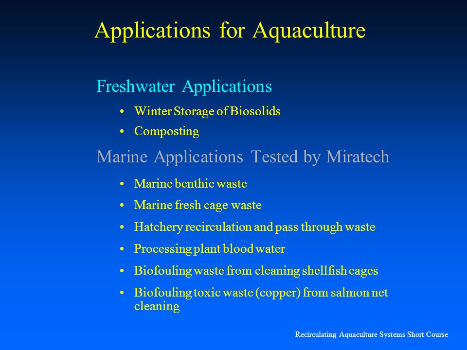 Applications for Aquaculture