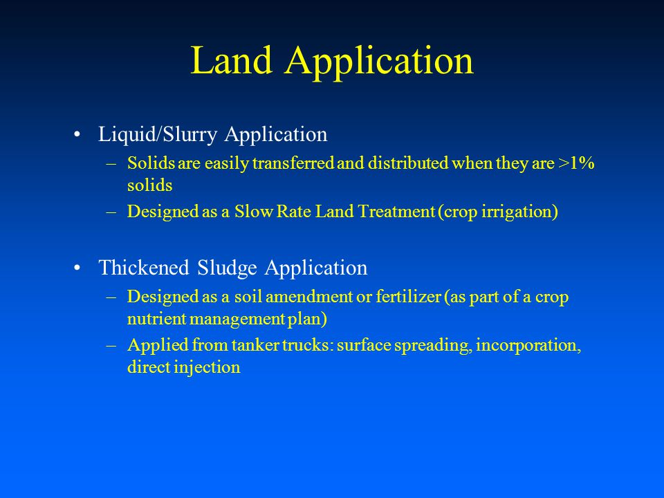Land Application Liquid/Slurry Application