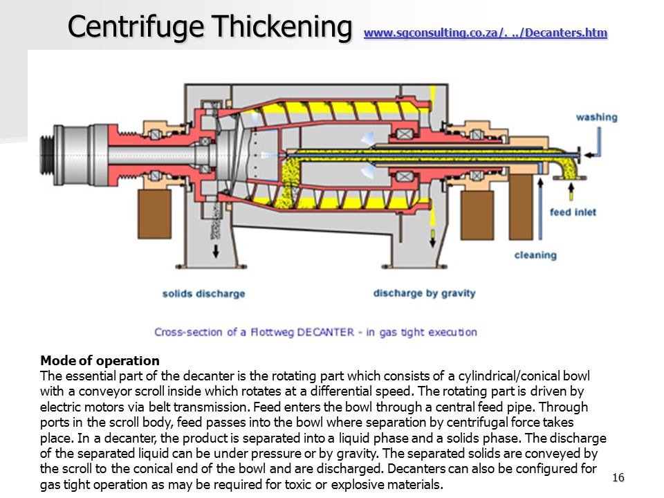 Centrifuge Thickening www.sgconsulting.co.za/. ../Decanters.htm
