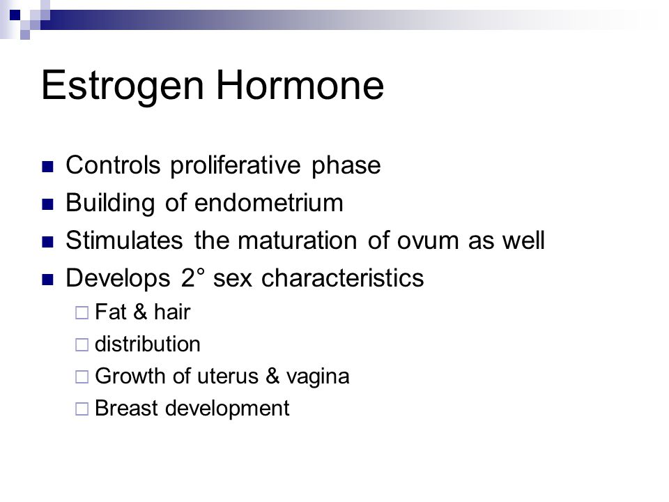 Estrogen Hormone Controls proliferative phase Building of endometrium