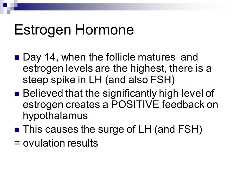 Estrogen Hormone Day 14, when the follicle matures and estrogen levels are the highest, there is a steep spike in LH (and also FSH)