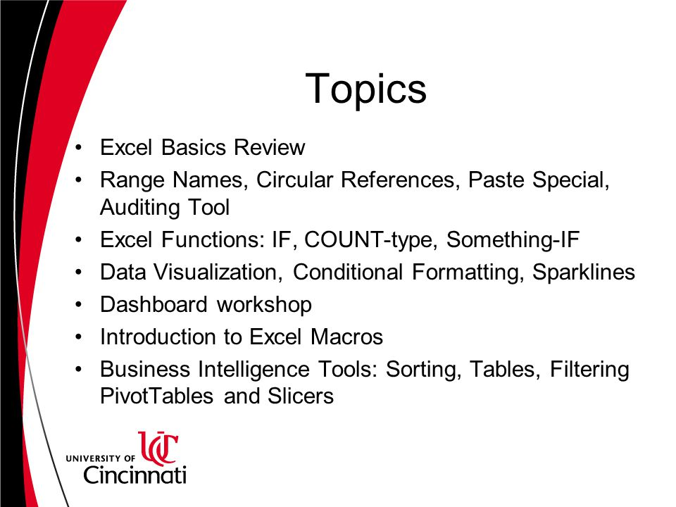 Topics Excel Basics Review