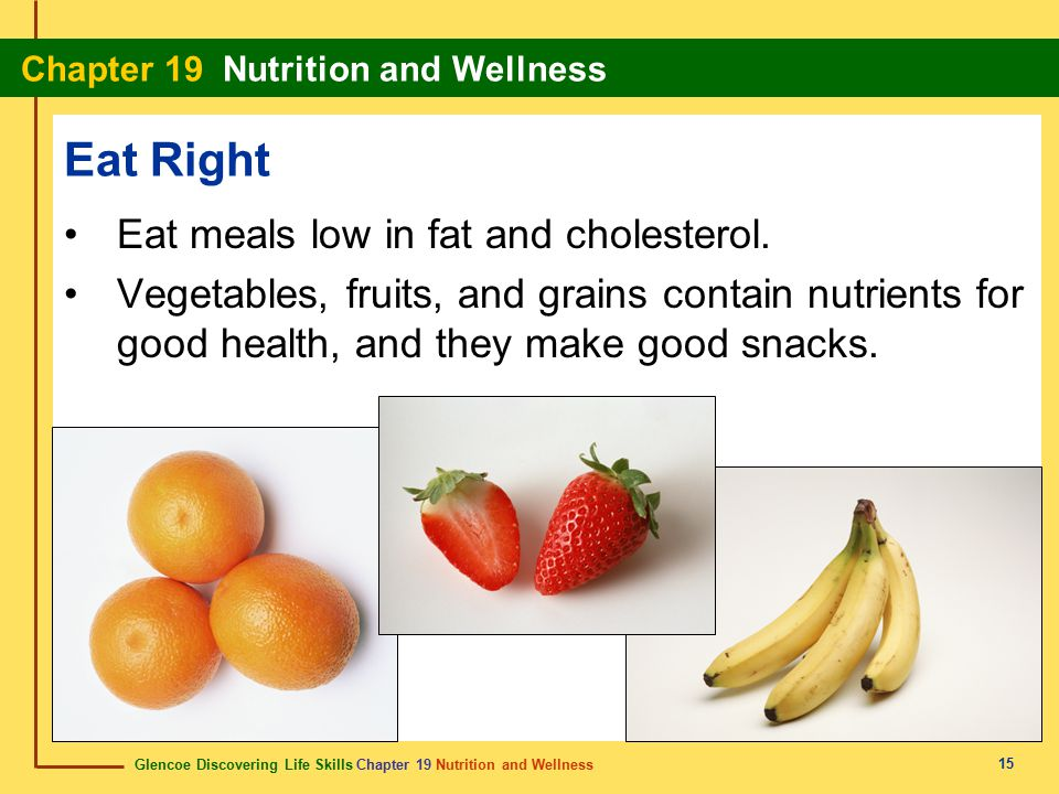 Eat Right Eat meals low in fat and cholesterol.