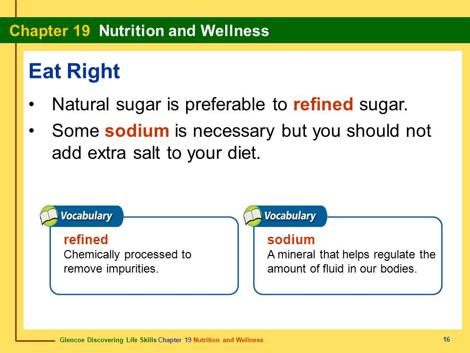 Eat Right Natural sugar is preferable to refined sugar.