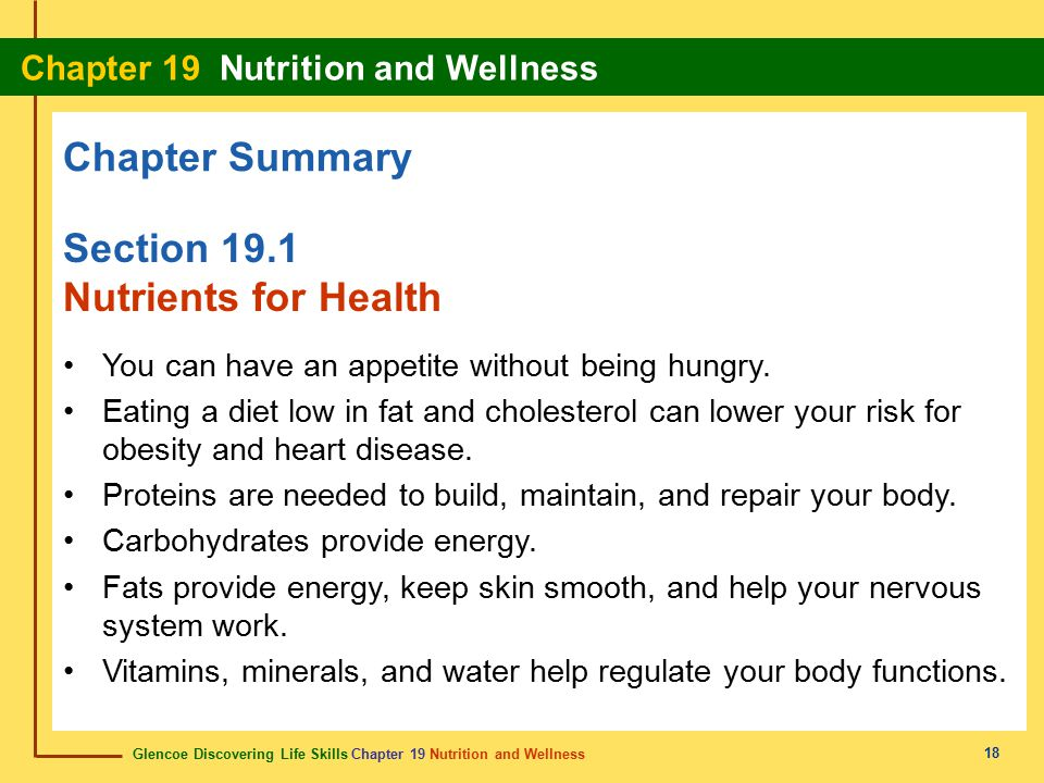 Chapter Summary Section 19.1 Nutrients for Health