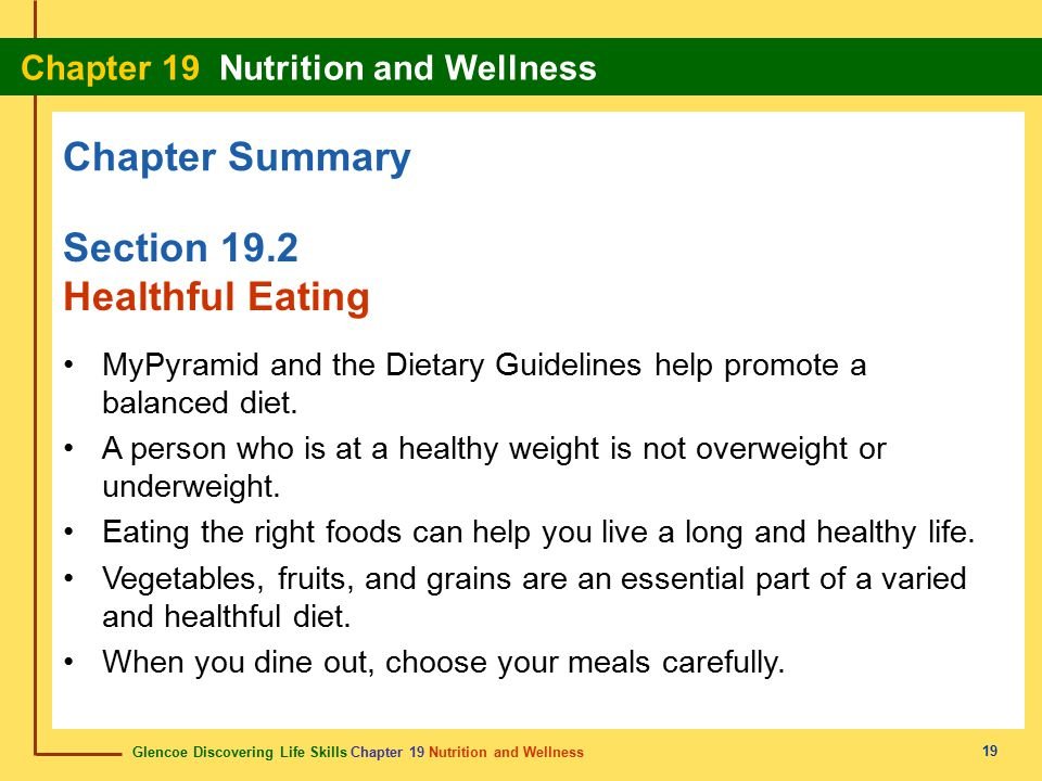 Chapter Summary Section 19.2 Healthful Eating