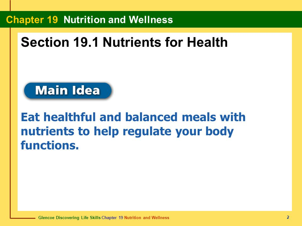 Section 19.1 Nutrients for Health
