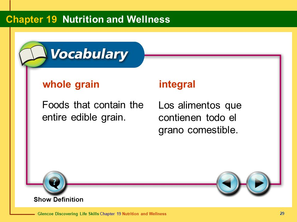 Foods that contain the entire edible grain.