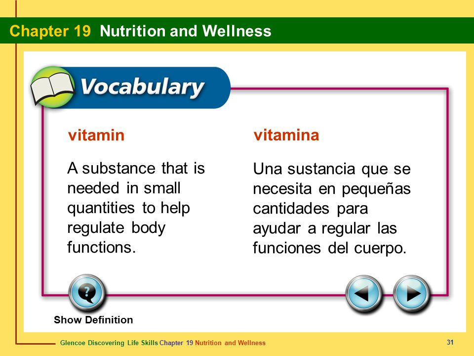 vitamin vitamina. A substance that is needed in small quantities to help regulate body functions.
