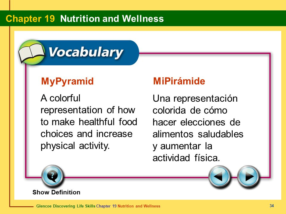 MyPyramid MiPirámide. A colorful representation of how to make healthful food choices and increase physical activity.