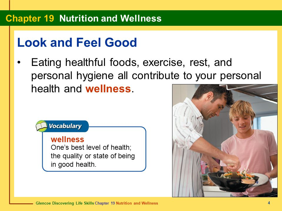 Look and Feel Good Eating healthful foods, exercise, rest, and personal hygiene all contribute to your personal health and wellness.