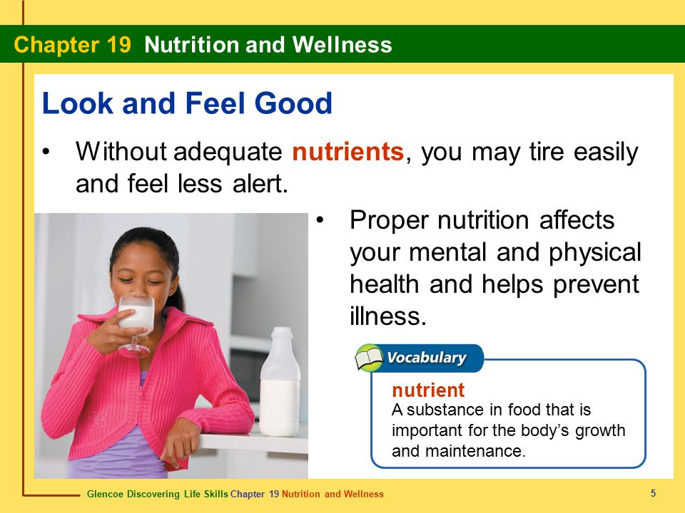 Look and Feel Good Without adequate nutrients, you may tire easily and feel less alert.